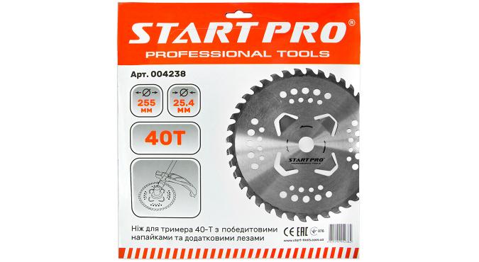 Нож для триммера 40-Т с победитовыми напайками и дополнительными лезвиями D255 мм Start Pro 4238 - 2