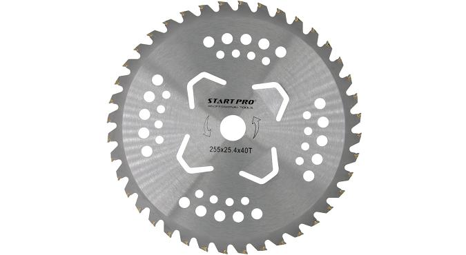 Нож для триммера 40-Т с победитовыми напайками и дополнительными лезвиями D255 мм Start Pro 4238 - 1